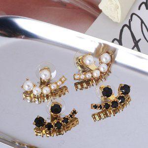 Kate Spade Black Zircon Pearl Earrings
